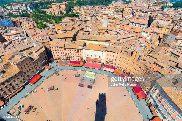 Piazza del Campo, aerial view, Siena, Italy, Europe