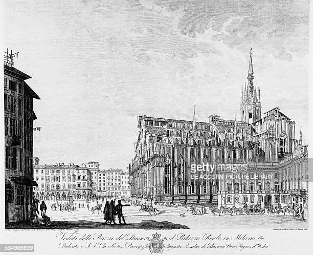 Piazza del Duomo and Palazzo Reale in Milan Francesco Bellemo engraving 1808 Italy 19th century