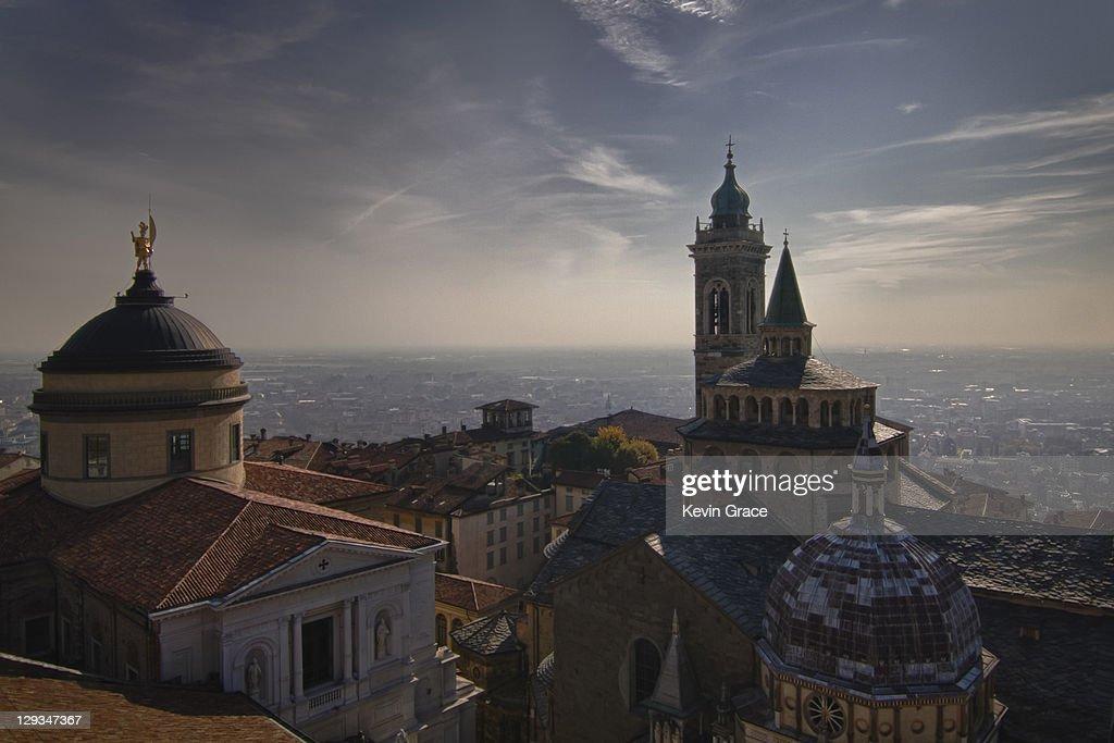 Piazza del Duomo in Bergamo Alta, Italy. : Stock Photo