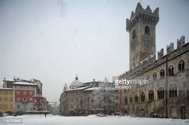 Piazza del Duomo in Trento under a snowstorm Trentino Alto Adige
