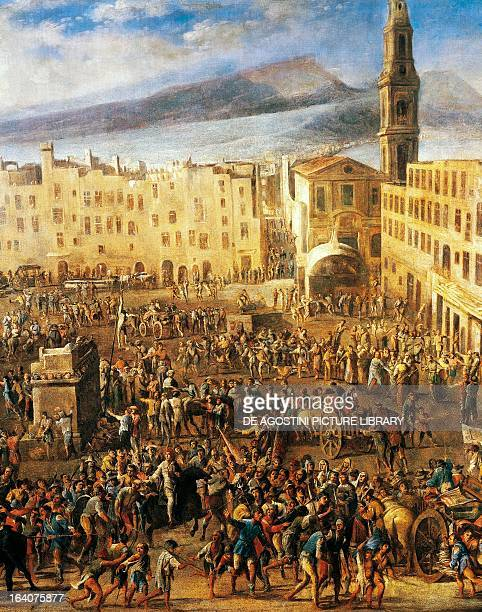Piazza del Mercato in Naples detail from the Revolt of Masaniello by Domenico Gargiulo known as Micco Spadaro painting Naples Museo Nazionale Di San...