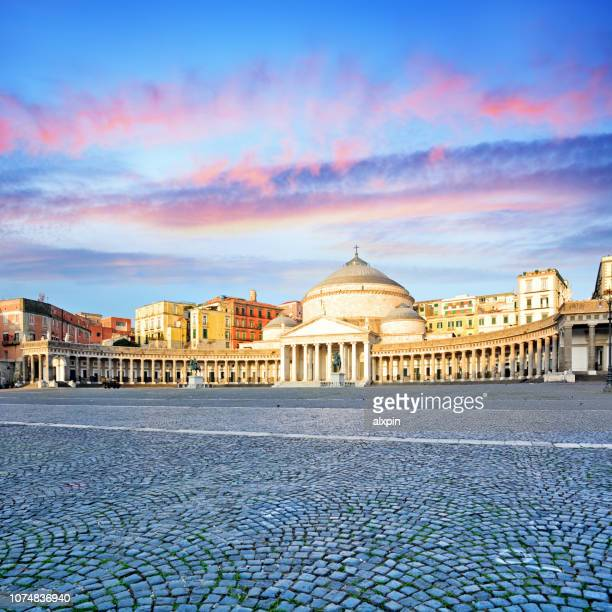 piazza del plebiscito in naples - napoli stock pictures, royalty-free photos & images
