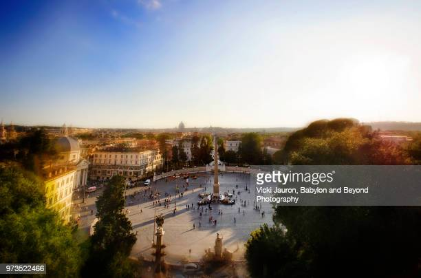 piazza del popolo from the pincio at villa borghese, rome, italy - bokeh museum stock photos and pictures