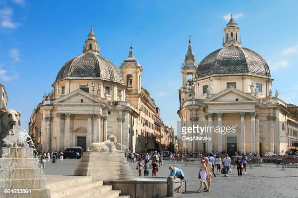 Piazza del Popolo with Twin Churches Santa Maria dei Miracoli and Santa Maria in Montesanto, Rome, Italy.