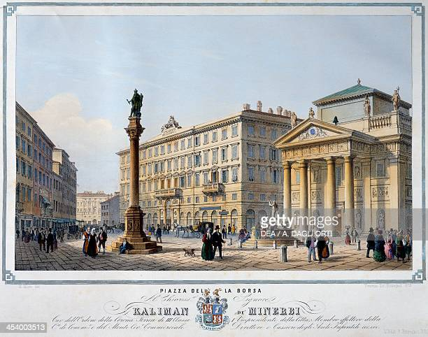 Piazza della Borsa in Trieste engraving from Trieste a very kind and commercial city depicted in twentyfour perspective views by Marco Moro and...