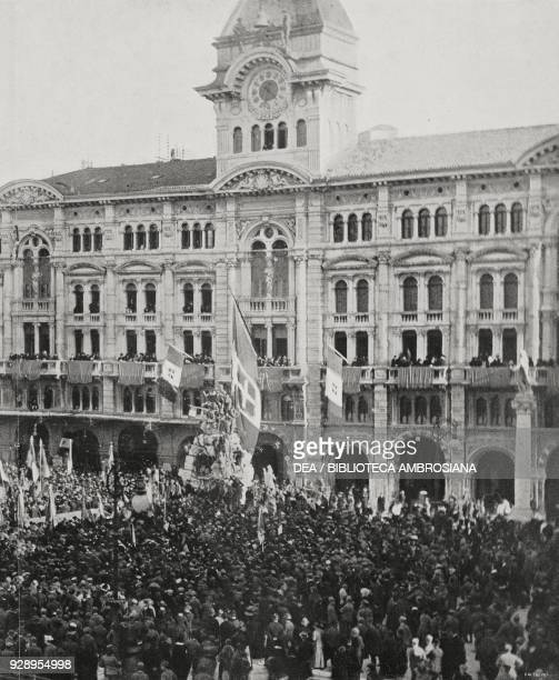 Piazza dell'Unita, Trieste, Italy, crowded by people who pay tribute to the Italian flag offered to the Split inhabitants, from the magazine...