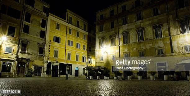 Piazza di Santa Maria in Trastevere at night, Rome