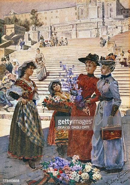 Piazza di Spagna in Rome 1891 by Richard Lopez Cabrera 355 x 245 cm oil on board Spanish antiques market school
