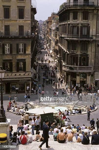 Piazza di Spagna with Fontana della Barcaccia Rome