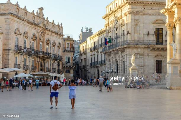 Piazza Duomo and cathedral in Syracuse, Sicily, Italy