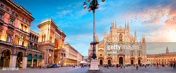 piazza duomo in milan - panoramic stock pictures, royalty-free photos & images