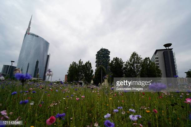 Piazza Gae Aulenti is deserted due to corona restrictions on April 30 2020 in Varese Italy Italy will remain on lockdown to stem the transmission of...