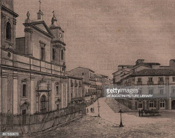 Piazza Garibaldi and Cathedral of Santa Maria la Nova Caltanissetta Sicily Italy woodcut from Le cento citta d'Italia illustrated monthly supplement...