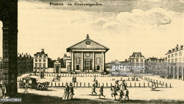 Piazza in Covent Garden', 18th century, . View of St Paul's Church, Covent Garden, Westminster, London, designed by Inigo Jones and completed in...