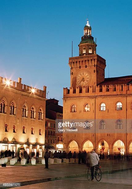 Piazza Maggiore, Bologna, at dusk