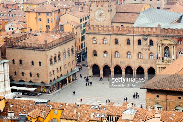 piazza maggiore seen from above, bologna, italy - bologna stock pictures, royalty-free photos & images