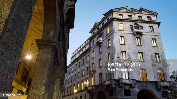 piazza meda in the historic district of milan, italy - milano foto e immagini stock