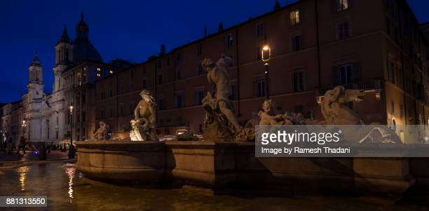 Piazza Navona and the Fontana del Neptune at Night