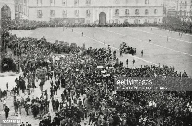 Piazza Plebiscito during Benito Mussolini's speech fascist gathering in Naples Italy October 24 from L'Illustrazione Italiana Year XLIX No 45...