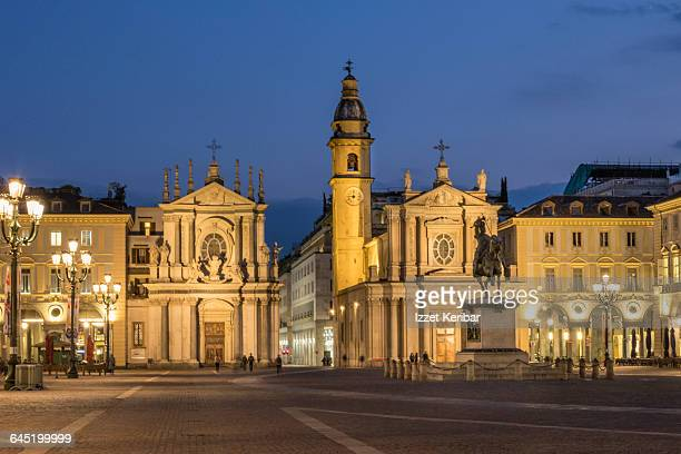 Piazza San Carlo  at dusk hours, Turin, Italy