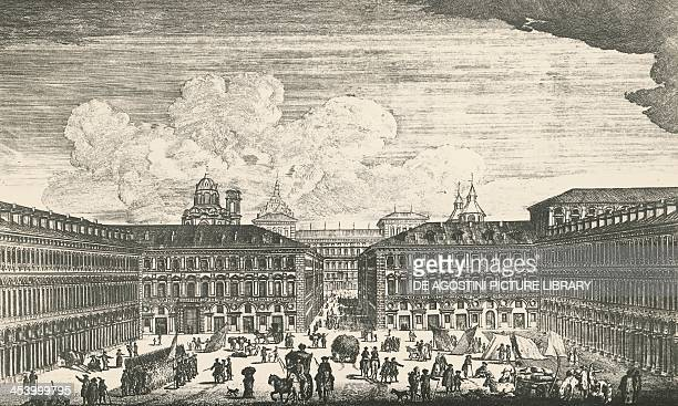 Piazza San Carlo facing Palazzo Reale in Turin, engraving by Ignazio Sclopis, Count of Borgo . Italy, 18th century. Turin, Biblioteca Reale
