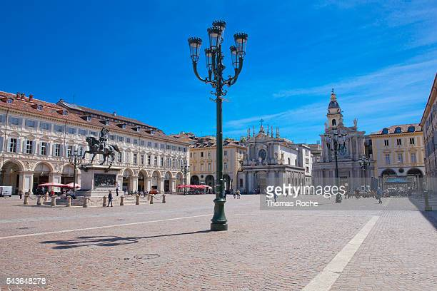 piazza san carlo in turin - piazza san carlo stock photos and pictures