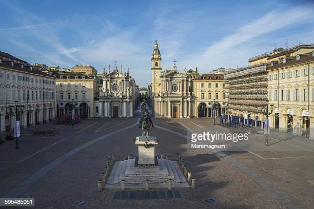 piazza (square) san carlo - piazza san carlo stock photos and pictures