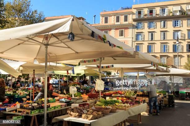 Piazza San Cosimato Market Trastevere neighborhood Rome Italy