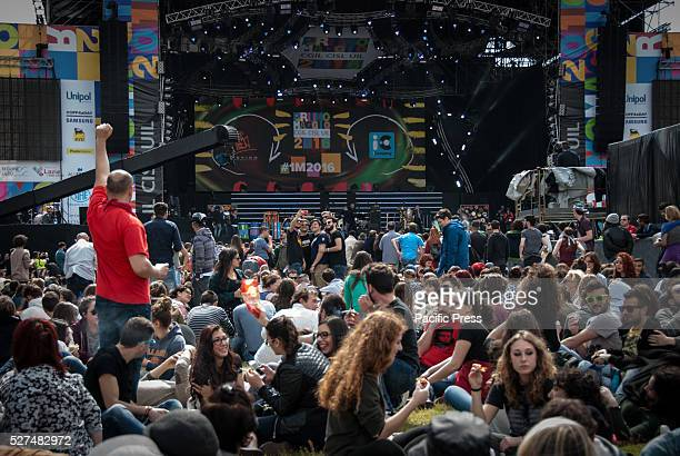 Piazza San Giovanni during traditional rock marathon concert in Rome About 500 thousand people went to the traditional rock marathon organized by...