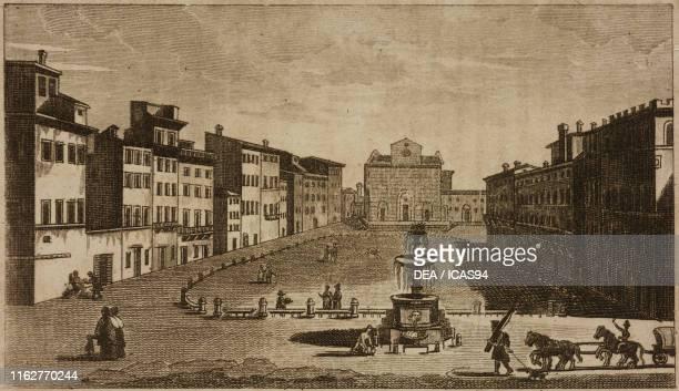 Piazza Santa Croce Florence Italy engraving from Guida della citta di Firenze ornata di pianta e vedute Florence