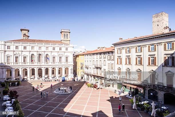 Piazza Vecchia in Bergamo Alta, Italy.