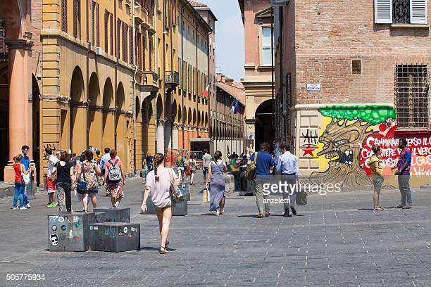 piazza verdi and via zamboni in bologna - bologna stock pictures, royalty-free photos & images