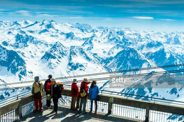 Pic du Midi Observatory and snowcovered mountains Pic du Midi de Bigorre HautesPyrenees department MidiPyrenees region France Europe
