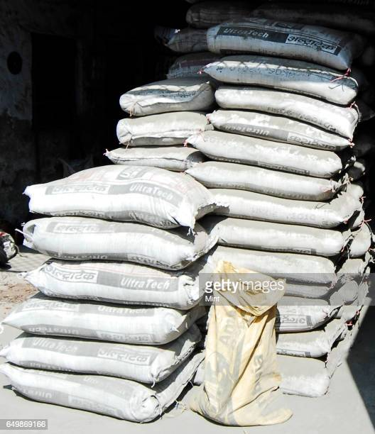 Pic of cement bags at Chawri Bazar market photographed on February 18 2010 in New Delhi India