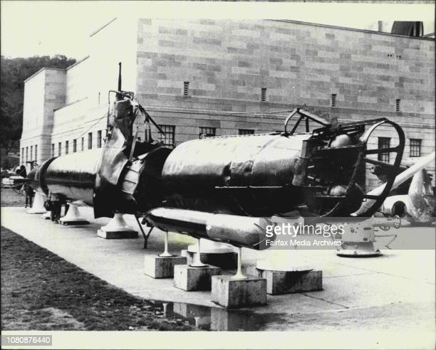Pic of the Japanese 2 man submarine which was captured in Sydney Harbour during WW2 the 1/27 March 29 1978