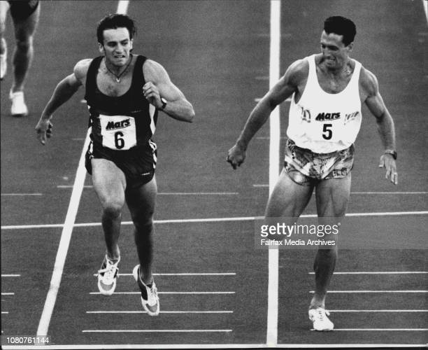 Dean Capobianco beats Darren Clark at the line for the 400 meters final 1st time Clark been beaten in 400 for a million years check with JaquiDarren...