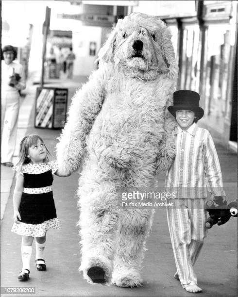 Nana the dog played by Graeme Bassett and Matthew Larkum 11 who plays Michael Darling went out into George St to meet some of the public during a...