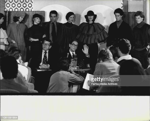 Pic showsPierre Cardin with some of his model behindThe Famous French fashion designer Pierre Cardin accompanied by six international models held a...