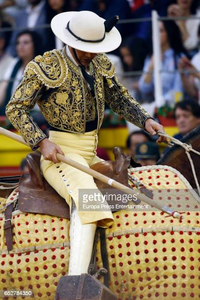 Picador performs during the traditional Spring Bullfighting performance on March 11 2017 in Illescas Spain