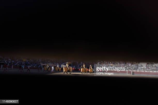 'Picadors' rid their horses before a bullfight at the Las Ventas bullring in the 2019 San Isidro festival in Madrid
