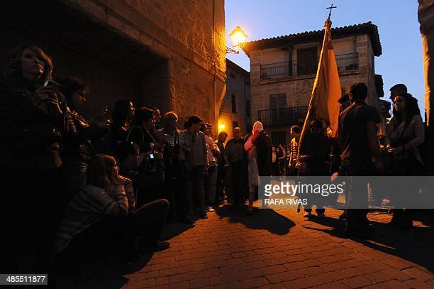 A 'Picao' penitent takes part in the 'Santa Vera Cruz' brotherhood procession of the Holy Week in San Vicente de la Sonsierra in Northern Spain on...