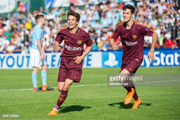 Picard Puig of FC Barcelona celebrates his goal with teammates during the semifinal football match between Manchester City and FC Barcelona of UEFA...
