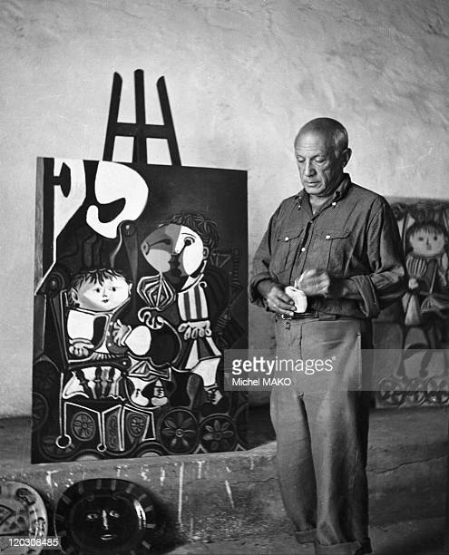 Picasso in his studio in Vallauris France in 1950