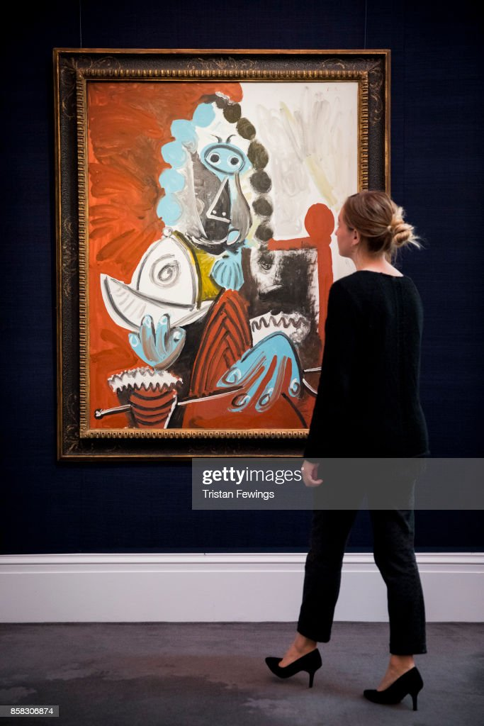 Picasso's Homme assis au casque et a l'epee (Estimate $8-12 million) goes on view as part of Sotheby's Contemporary Impressionist New York TRAVEX highlights preview at Sotheby's on October 6, 2017 in London, England. The Contemporary Art Evening Auction takes place at Sothebys New York on 16th November 2017.