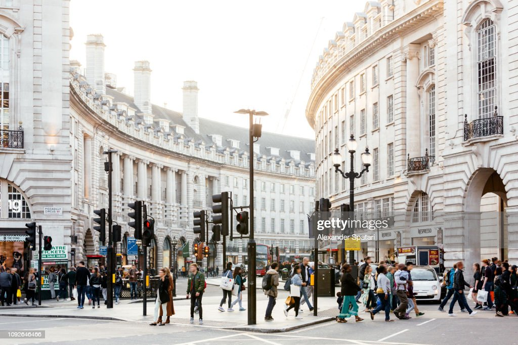 Piccadilly Circus and Regent Street in London, England, UK : Foto de stock