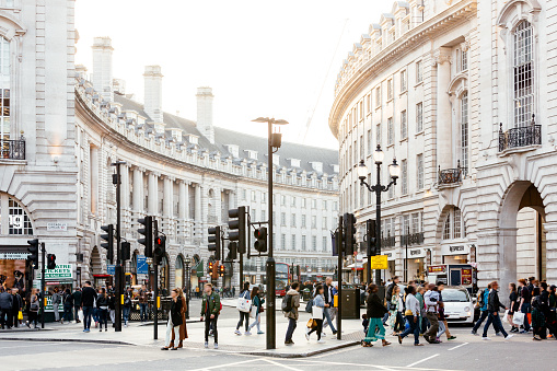 Piccadilly Circus and Regent Street in London, England, UK - gettyimageskorea