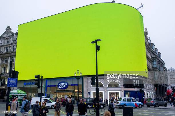 Piccadilly Circus billboard displays a test screen, London on October 18, 2017. The digital billboard will be switched on later in October with an...