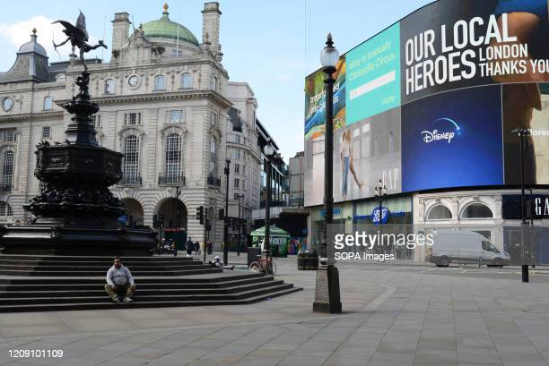 Piccadilly Circus is pictured empty during the coronavirus crisis Streets are nearly empty in London during the second week of the UK lockdown People...