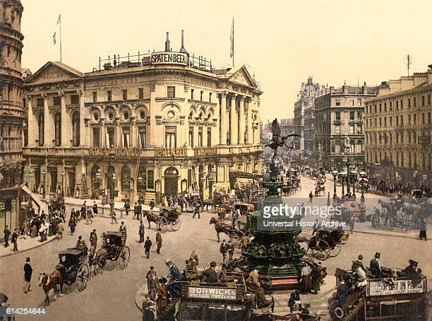 Piccadilly Circus London England Photochrome Print circa 1900
