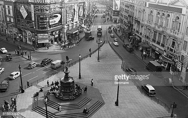 Piccadilly Circus London The famous Piccadilly Circus with the Eros Statue in centre and looking toward Leicester Square with Shaftesbury Avenue all...